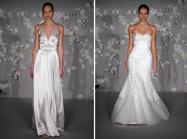 Ivory charmeuse a-line wedding dress with a deep v halter top and stunning open back