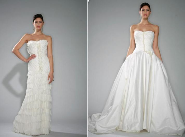 Ruched chantilly lace wedding dress with circular skirt of silk satin