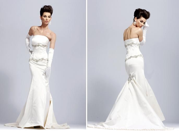White strapless mermaid silhouette wedding dress with silver embellishments