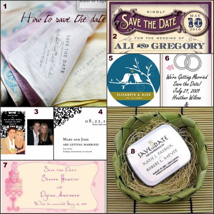 This collection of save-the-date cards shows unique and special ideas including printing save the da