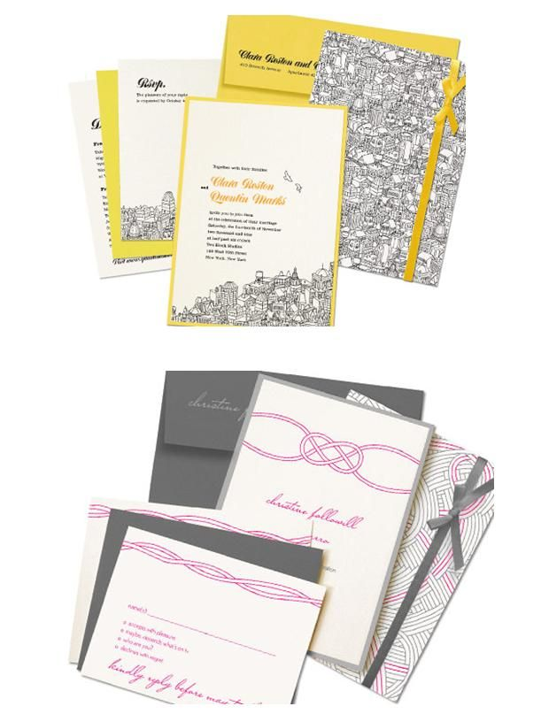 Beautiful chic wedding invitation sets in grey and white with pops of pink
