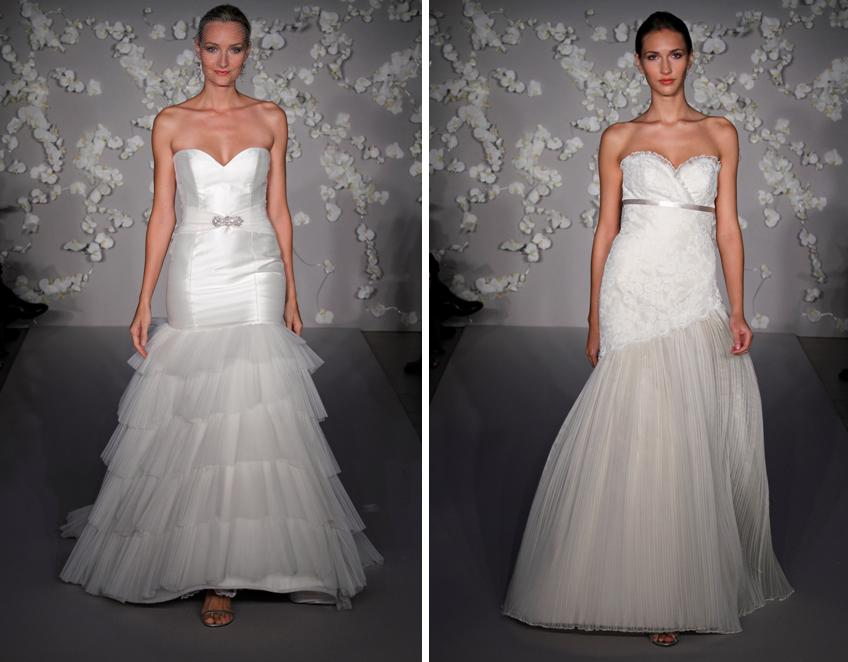 Ivory aline and fit and flare Tara Keely wedding dresses with deep