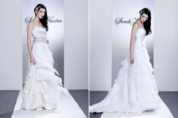 White strapless wedding dress with ruffled a-line full skirt, rhinestone silver intricate beading