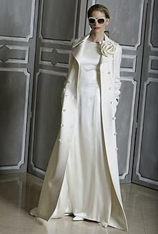 Chic and stylish full length Carolina Herrera coatdress, perfect for a winter wedding