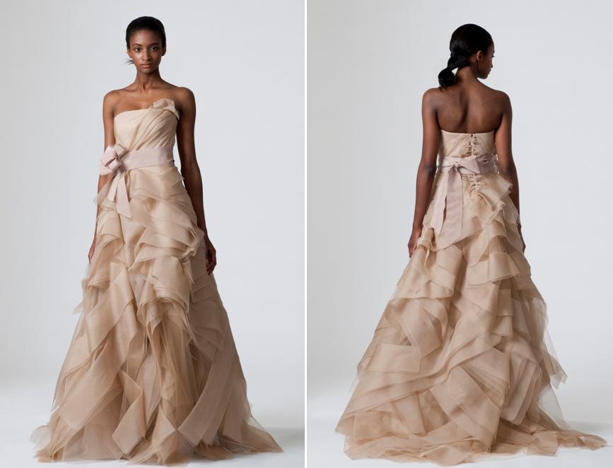 Stunning cocoa Vera Wang wedding dress with fitted corset bodice and full