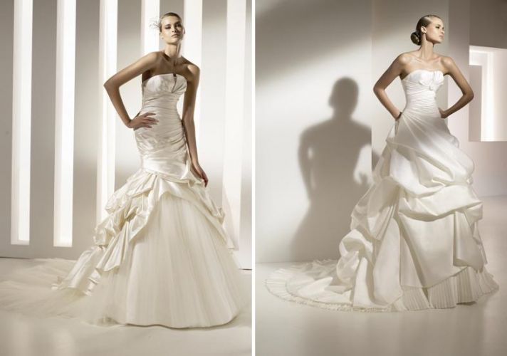 Gorgeous strapless wedding dresses with clouds of tulle and ruffles from Pronovias