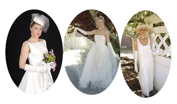 Classic brides: traditional white wedding dresses and gloves