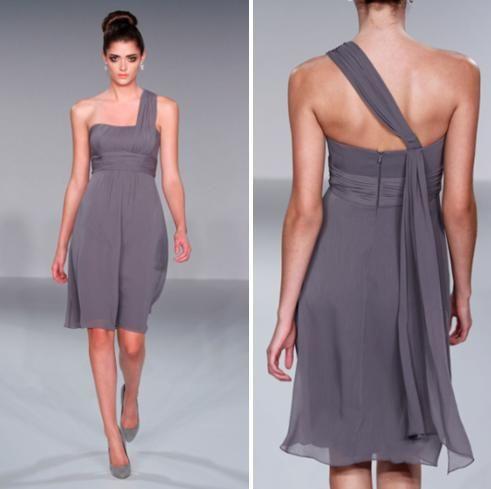 One shoulder grecian-inspired bridesmaids dress in a pewter grey