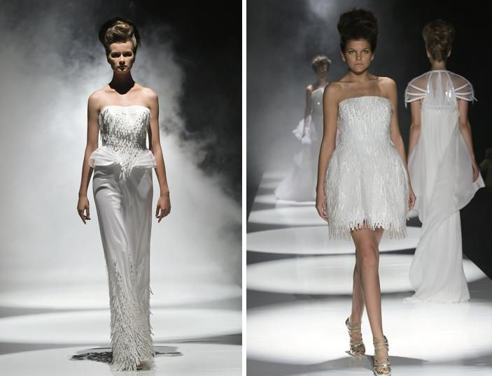Couture wedding dresses from David Fielden's Spring 2010 wedding dress collection- love the transluc