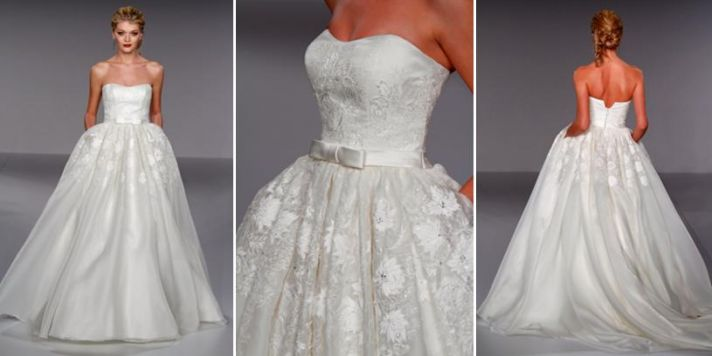 Ivory princess cut wedding dress with floral applique, pockets, and modified sweetheart neckline