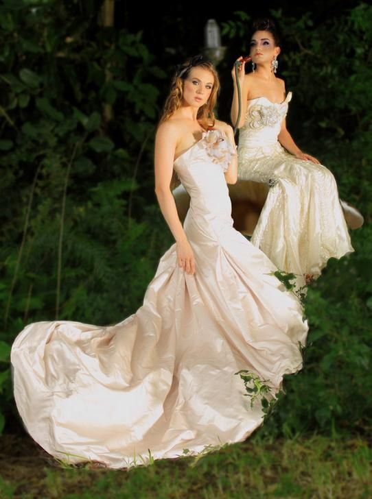 Stunning and whimsical blush and ivory wedding dresses with large fabric flower