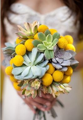 Succulent yellow, sage, green and grey eco-friendly bridal bouquet
