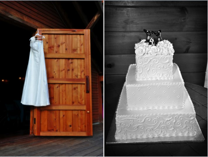 The dog cake topper provides a whimsical touch to the traditional white wedding cake while the simpl