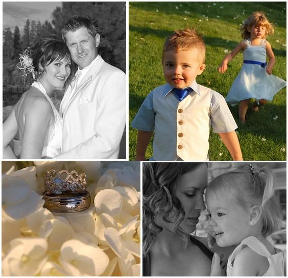The happy couple, and the adorable ring bearer (in an ivory vest and blue tie) with the cute flower
