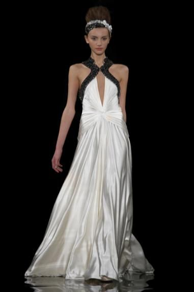 Ivory silk a-line wedding dress with keyhole front and black beaded straps