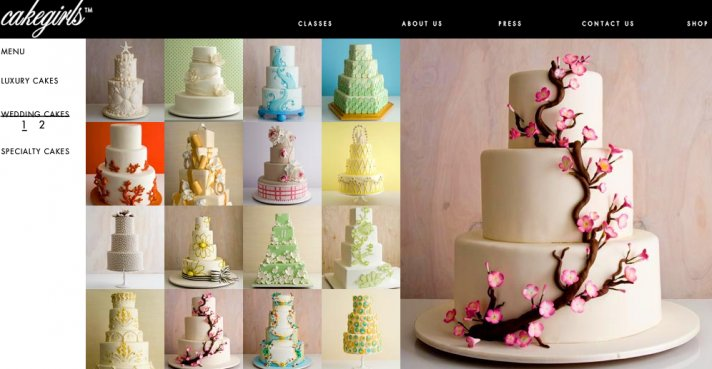Cake Girls has a variety of wedding cakes including a three tiered white cake with brown branches an