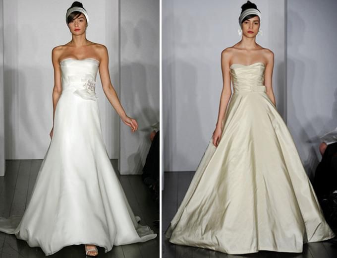 Simple and stunning strapless wedding dresses from Amsale