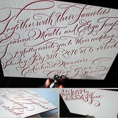 Stunning and elegant eco-friendly letterpress wedding stationery- white with dark red cursive