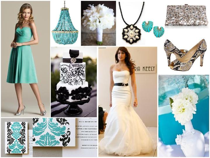 More images from the blog post Turquoise Black and White Wedding Inspired
