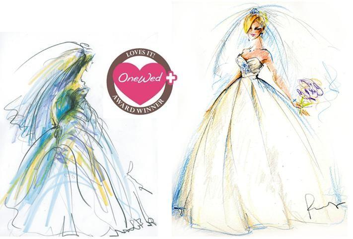 Beautiful bridal fashion sketch by Rosemary Fanti, wedding illustrator and artist