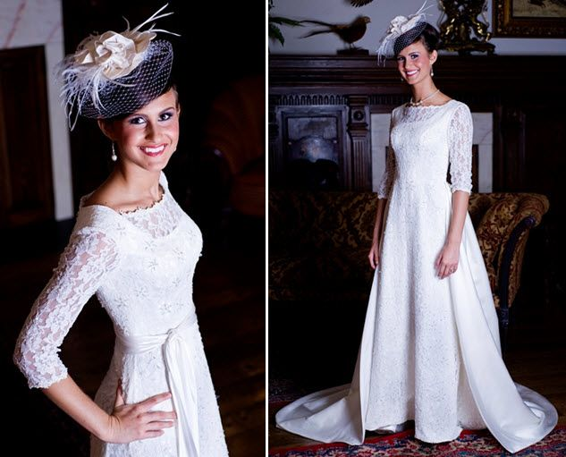 Classic ivory lace modest wedding dress with 3/4s sleeves and a-line skirt