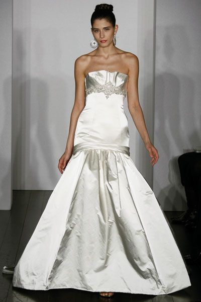 Kenneth Pool wedding dress- Enamored, satin crumb-catcher neckline with delicate beading