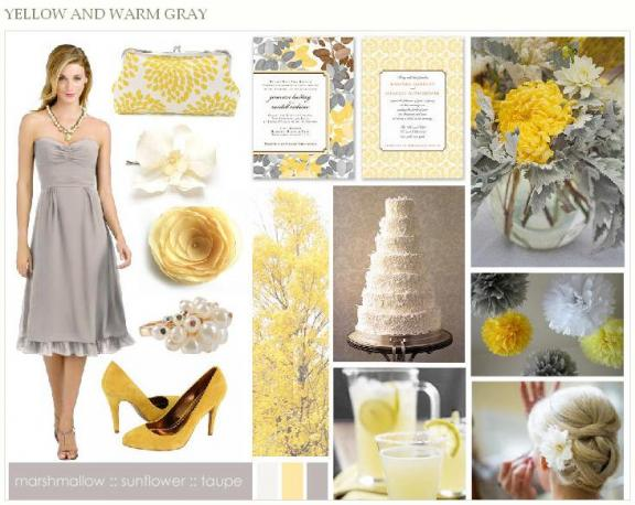 This grey and yellow inspiration board will provide inspiration for a fall
