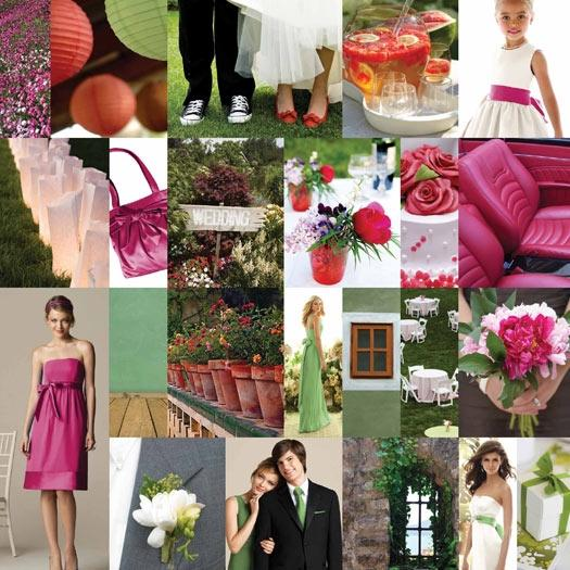This dessy style board features sage green fuschia and pink wedding