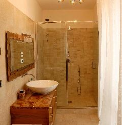 This moderninst bathroom ensures that you'll have modern conveniences at your romantic Italian honey