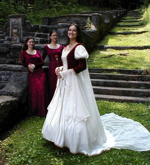 This red and white Renaissance themed wedding dress is from Kristina Marie