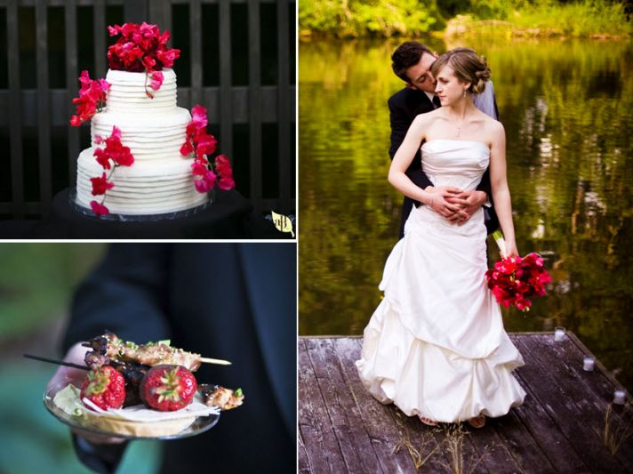 Modern white three tier wedding cake adorned with hot pink flowers