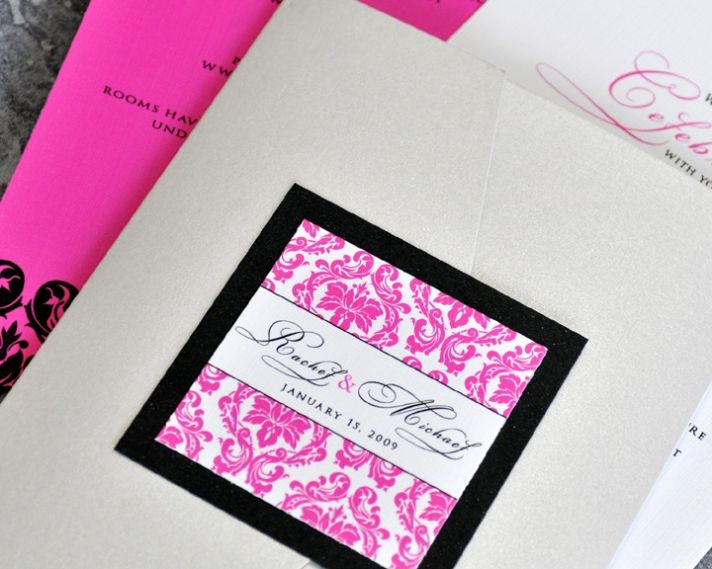 This fuscia and black wedding invitation from Invitation Chef shows one of the trends in wedding inv
