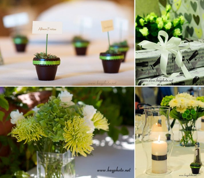 Green, black and ivory wedding details- mini flower pots for place cards, lime green flower centerpi