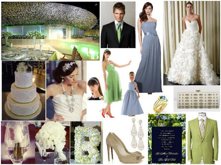 Ethereal cloudy blue and apple slice green wedding color palette