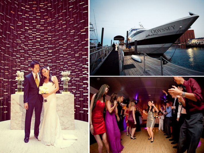 The Odyssey cruise ship sailed through Boston harbor while wedding guests danced the night away