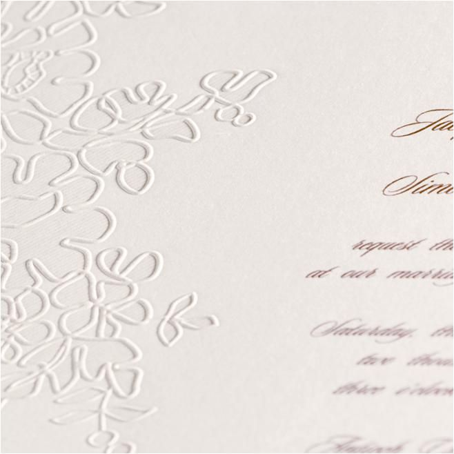 Monique Lhuillier wedding invitations that are truly romantic, with an embossed Alencon lace pattern