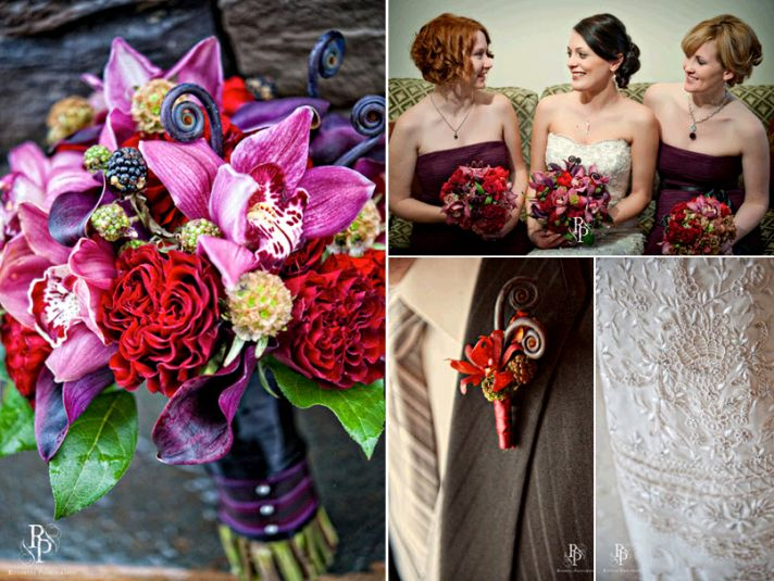 Stunning purple, red, hot pink, and sapphire bridal bouquet; bridesmaids in maroon strapless dresses