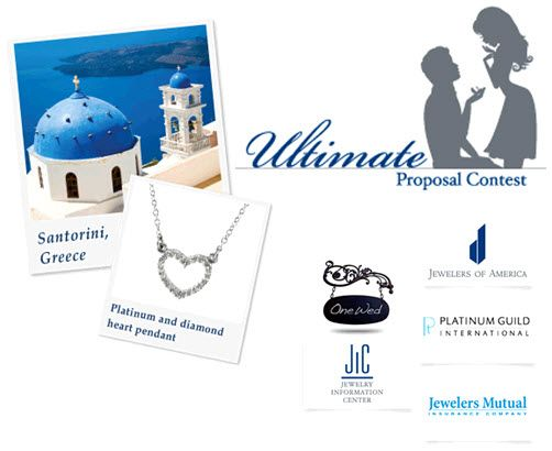 Win a trip to Santorini and platinum jewelry- just share your engagement story!