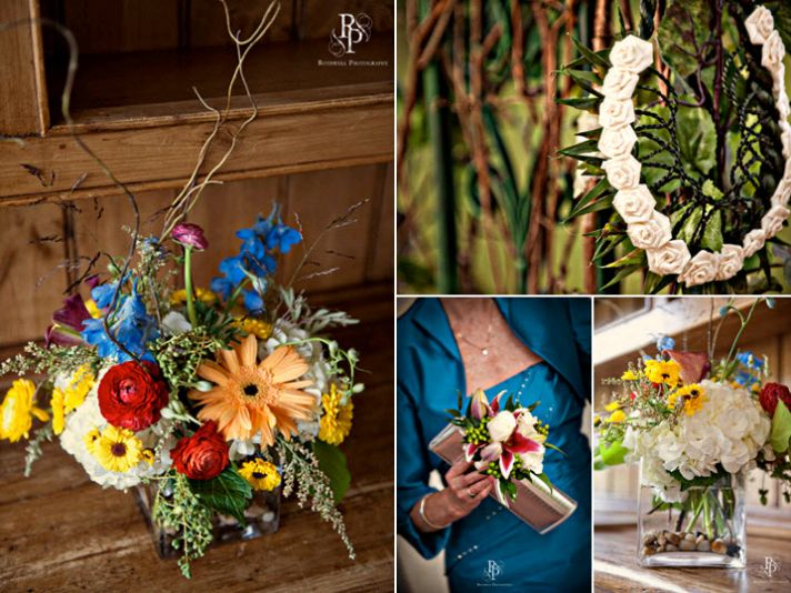 Bright wedding details- low floral centerpieces with orange, blue, red and yellow flowers