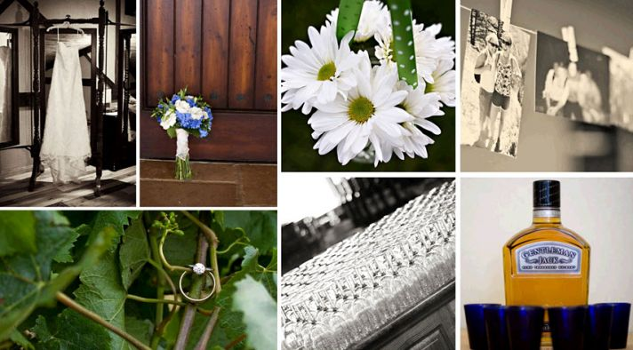 White wedding dress hangs alongside beautiful white and blue bridal bouquet; white and yellow daisie