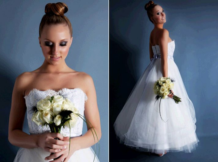 Classic ballgown silhouette wedding dress- bodice is lace over pastel blue silk