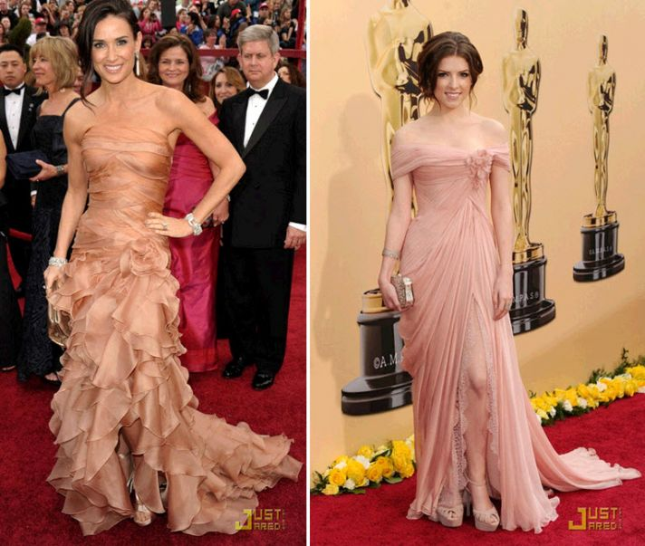 Demi Moore was stunning in a romantic nude-toned red carpet dress