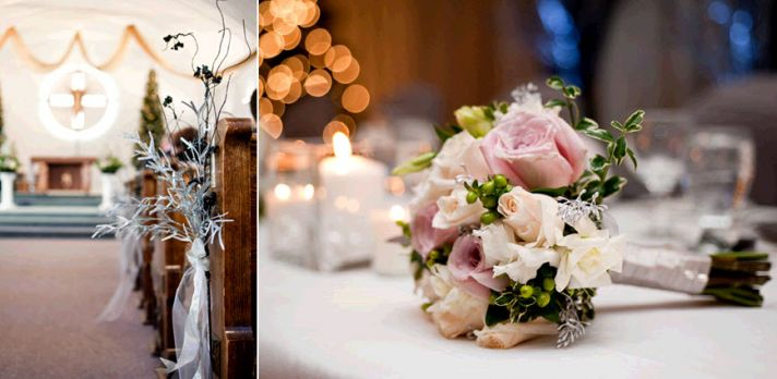 Silver frosted manzanilla branches adorn church pews; light pink, peach, and ivory rose bridal bouqu
