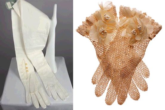 Long ivory classic bridal gloves with covered buttons; short copper crocheted sheer gloves