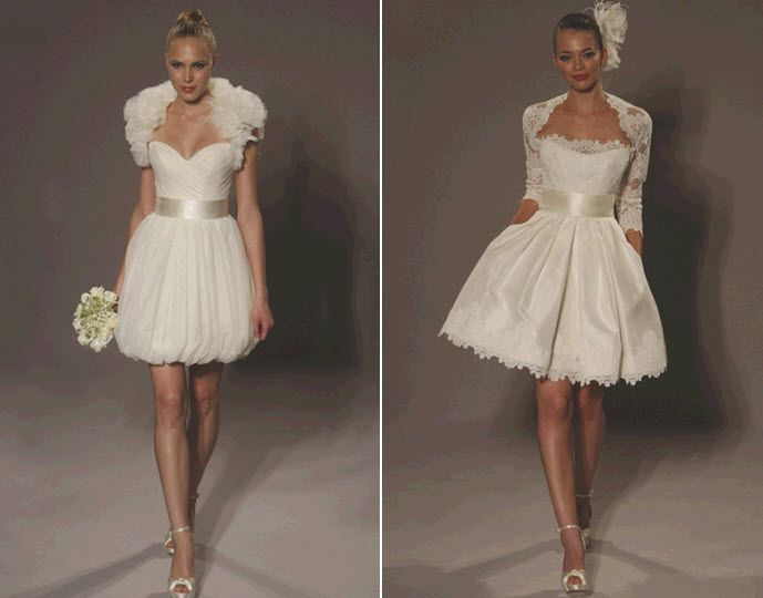 Romantic and flirty short wedding dresses from Romona Keveza