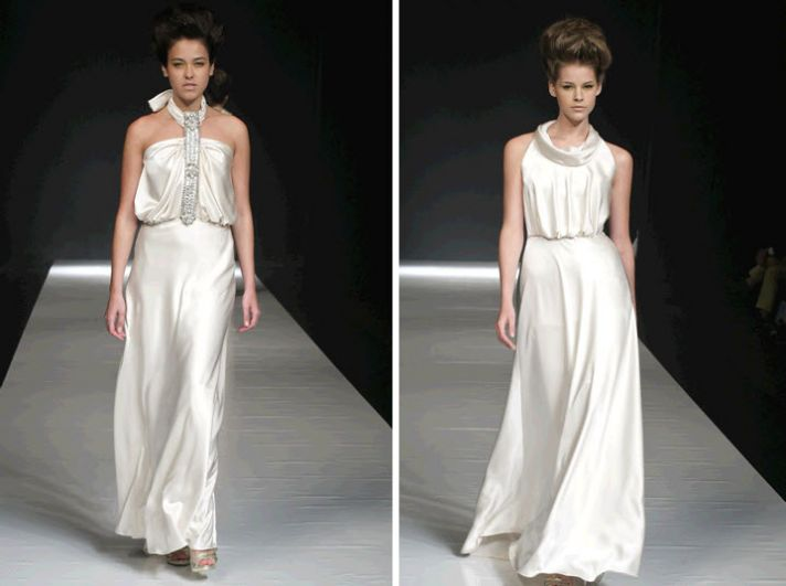 Halter draped ivory David Fielden wedding dress with jeweled halter