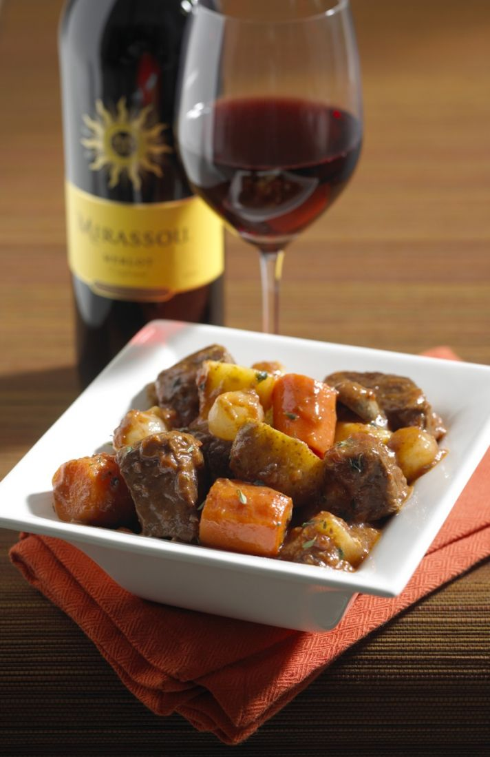 This pot roast with merlot and root vegetables makes a perfect comfort food dish for your wedding da
