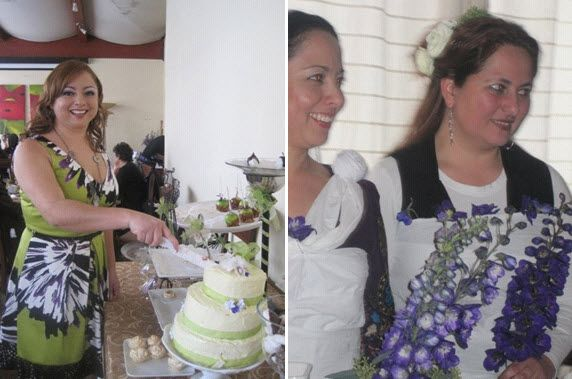 Our offthechart winner cuts the cake at her bridal shower