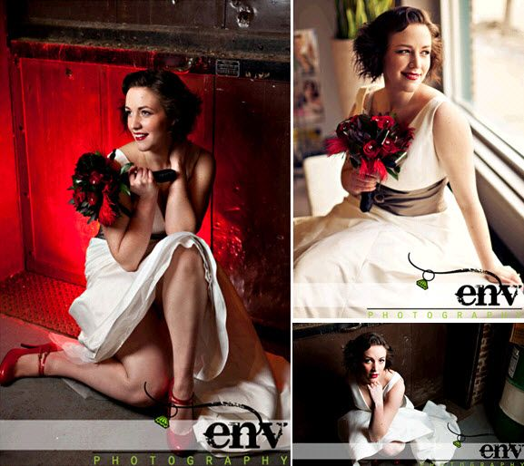 Beautiful retro bride with red lips and red bridal shoes rocks her wedding dress