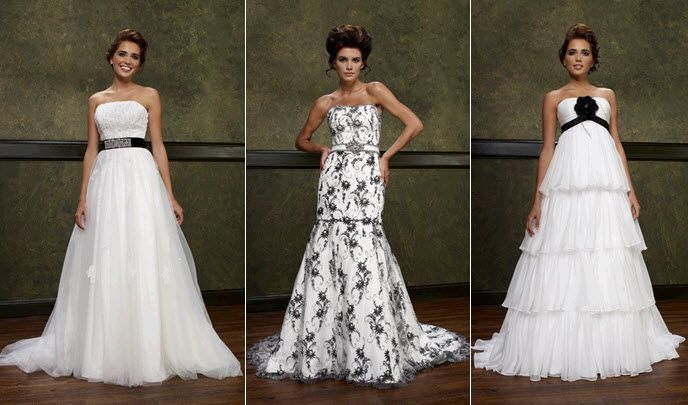 Ivory Emerald Couturier wedding dresses with black accents and prints